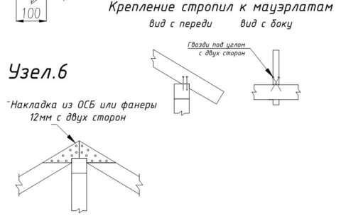 Каркасная баня с двускатной крышей-стропило