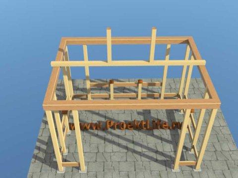 Беседка своими руками с четырёхскатной крышей беседка-стропильная-система