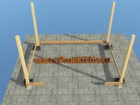 беседка своими руками с двускатной крышей опорные столбы и нижняя обвязка беседки