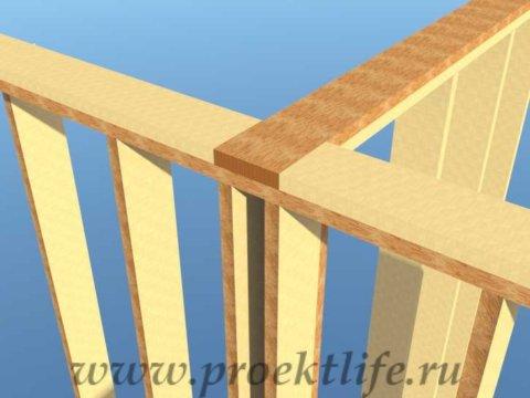 Каркасная баня с двускатной крышей-обвязка-перегородки