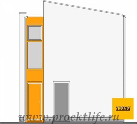 каркасный дом с односкатной крышей вид сбоку