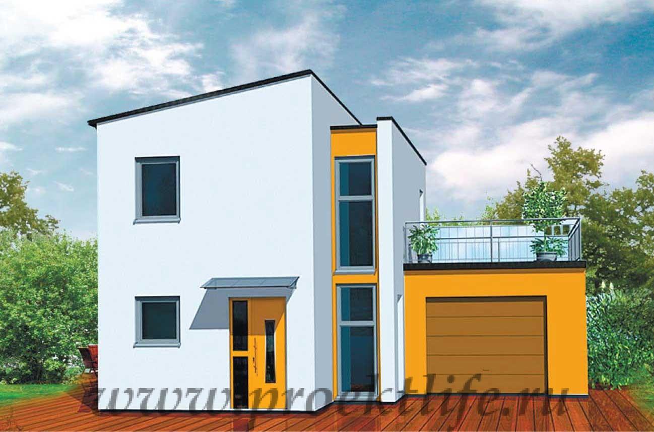 Каркасный дом с односкатной крышей