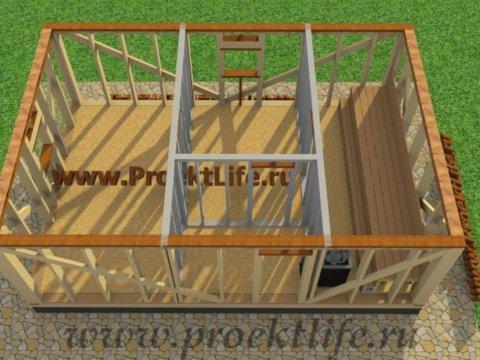 Каркасная баня с двускатной крышей-верхняя-бвязка