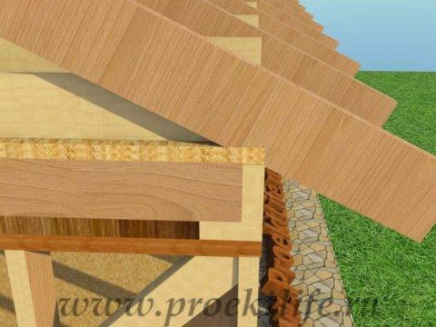 Каркасная баня с двускатной крышей-крепление-стропил