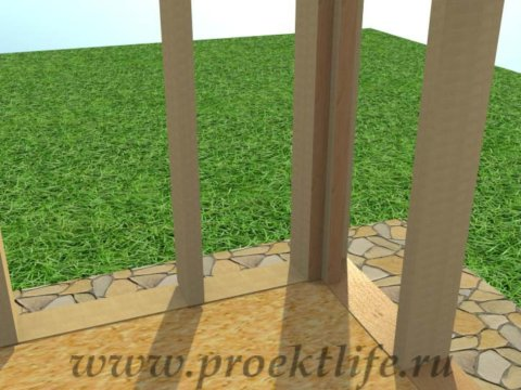 Каркасная баня с двускатной крышей-стена-стойка-угол из трёх досок