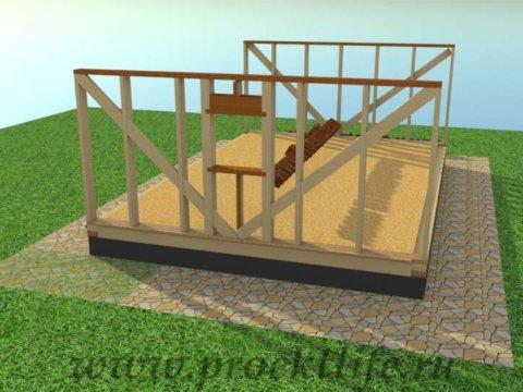Каркасная баня с двускатной крышей-стены-оконный проём, укосины
