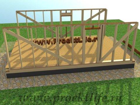 Каркасная баня с двускатной крышей-стены-дверной проём