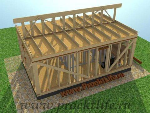 Каркасная баня с двускатной крышей-коньковая балка, доска, брус