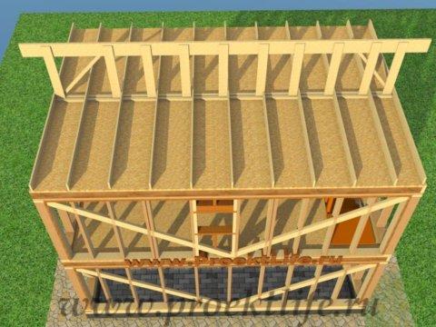 двухэтажный каркасный гараж-коньковая доска