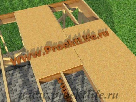 Каркасная баня с двускатной крышей-межэтажное перекрытие
