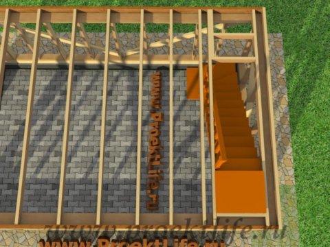 двухэтажный каркасный гараж-межэтажное перекрытие-второго-этажа