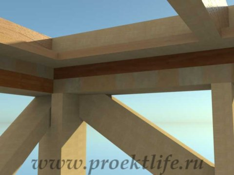 Каркасная баня с двускатной крышей-перемычки-вид изнутри