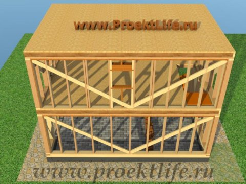 двухэтажный каркасный гараж-потолок