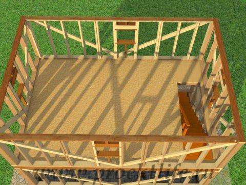 двухэтажный каркасный гараж-стены-ворого-этажа