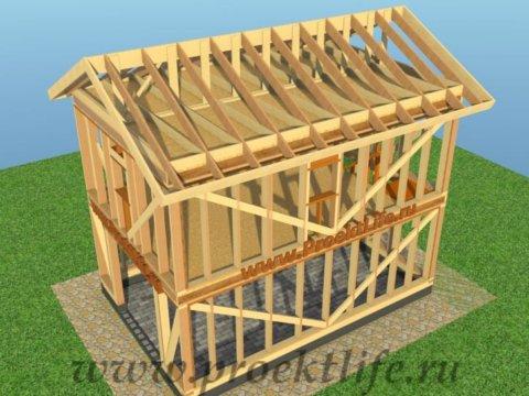двухэтажный каркасный гараж-стропильная-система