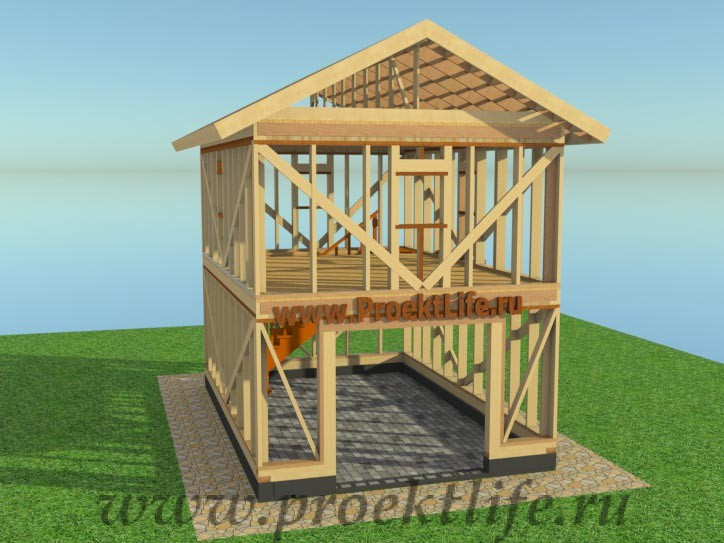 Проект двухэтажного каркасного гаража