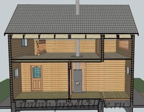 Двухэтажный гараж с баней-из-бруса-в-разрезе