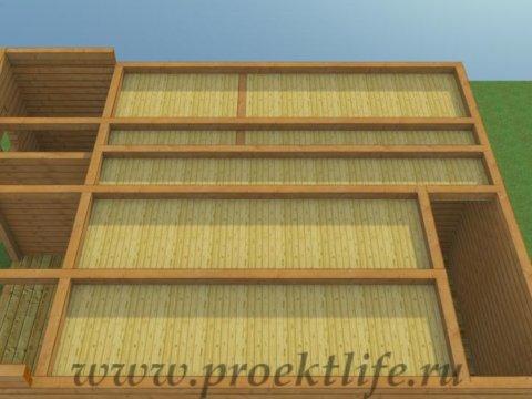 Двухэтажный гараж-из-бруса-перекрытие-второго-этажа