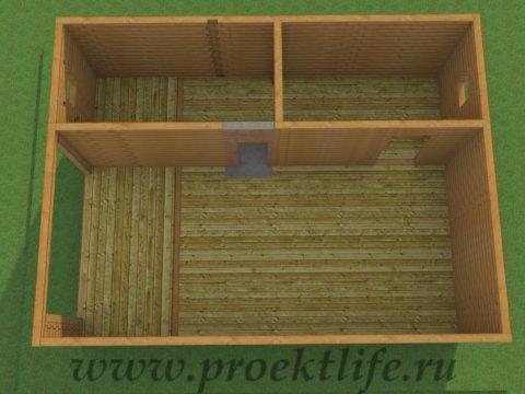 Двухэтажный гараж-из-бруса-стены