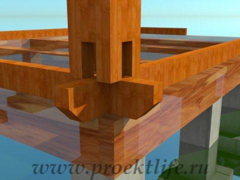 деревянный дачный домик-крепление-столбов