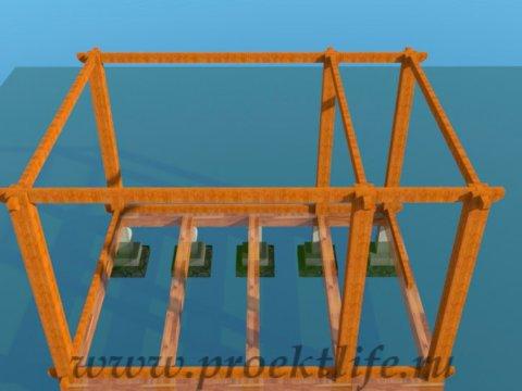 деревянный дачный домик -перекрытие