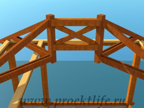 деревянный дачный домик-конёк
