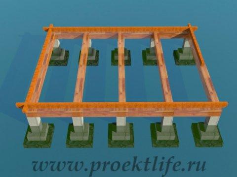 деревянный дачный домик нижняя-обвязка