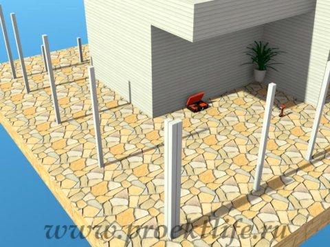 Угловая веранда своими руками - опорные столбы