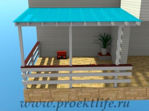 Веранда своими руками с крышей из поликарбоната