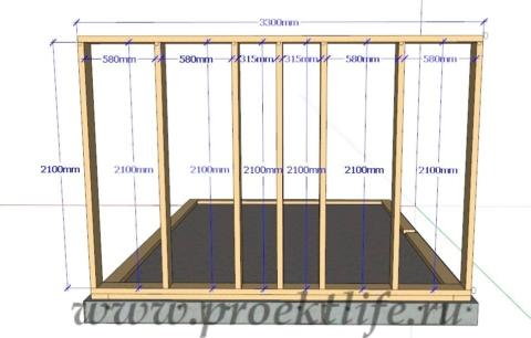 Каркасная банька-каркасная стена-1