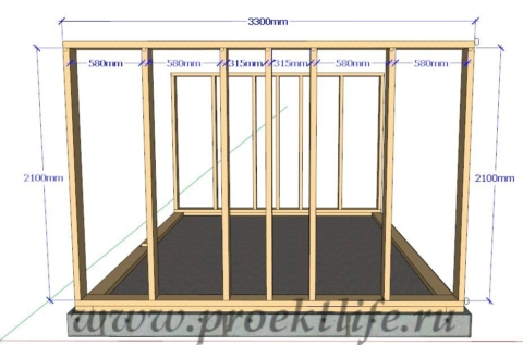 Каркасная банька-каркасная стена-2