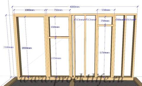Каркасная банька-каркасная стена-3