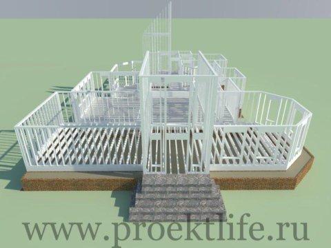 каркасный дом-стены первого этажа