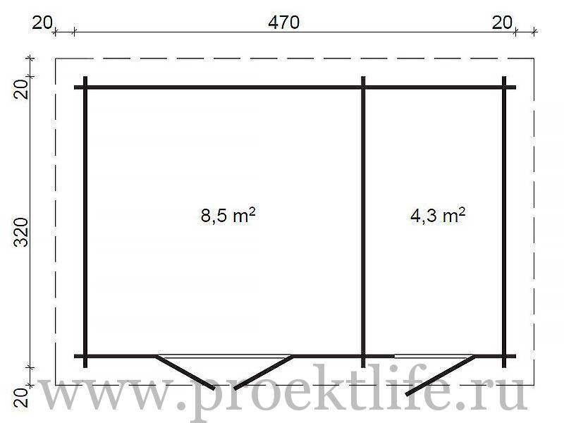 """- Уютный садовый домик из бруса 45 мм """"Модерн-2"""" -  2"""