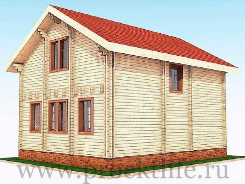 Деревянный двухэтажный дом из двойного бруса