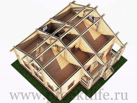 Деревянный двухэтажный дом из двойного бруса СПБ