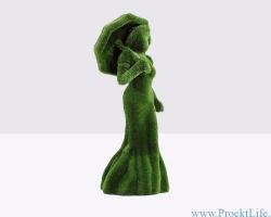 Садовая форма топиари – Девушка с зонтом