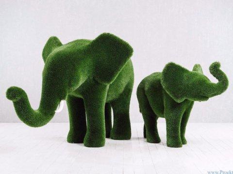 Топиарий - Слон и слонёнок