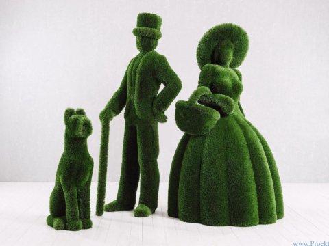 Садовые фигуры-Джентльмен, девушка и дог