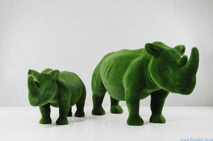 Садовая фигура - Два носорога