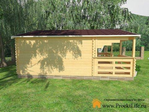 Дачный домик из двойного мини-бруса