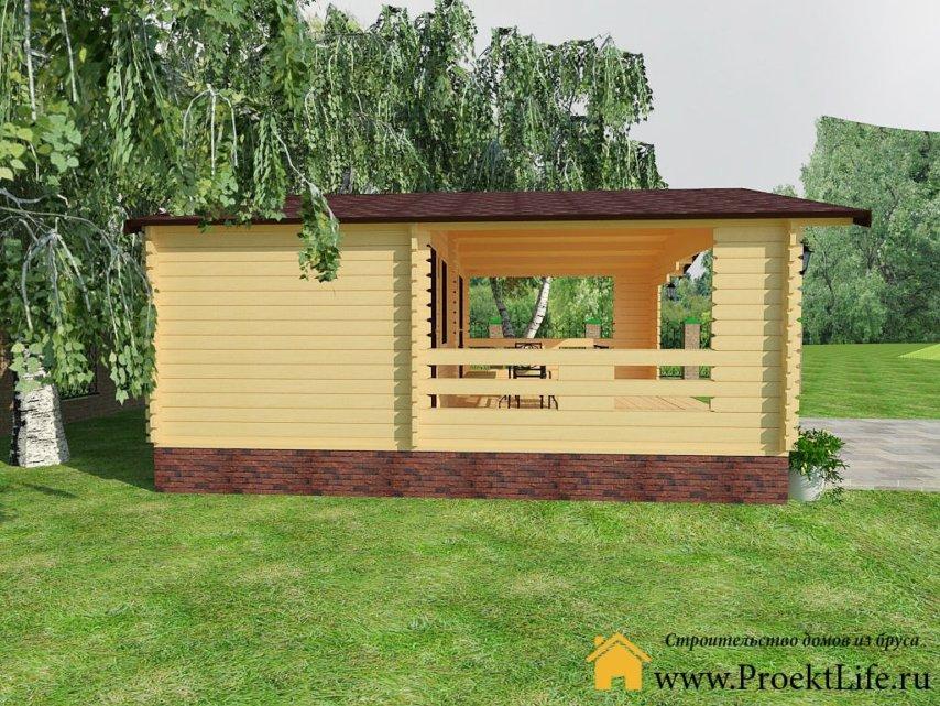 Дачный летний домик из бруса