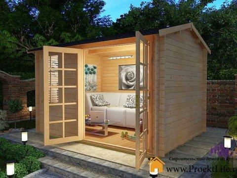 Садовый домик из профилированного мини-бруса по проекту СД-3
