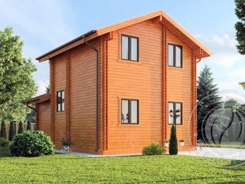 Двухэтажный дом из двойного бруса