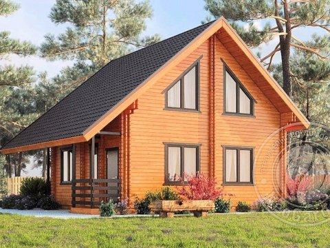 Двухэтажный дом с мансардой из двойного бруса