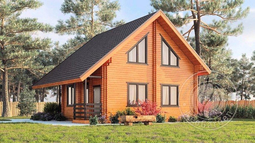 """Двухэтажный дом с мансардой из двойного бруса """"Плаза"""""""