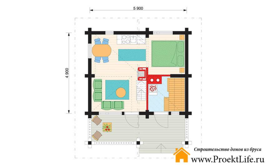 """Дачный загородный дом из бруса """"Нео"""" план"""