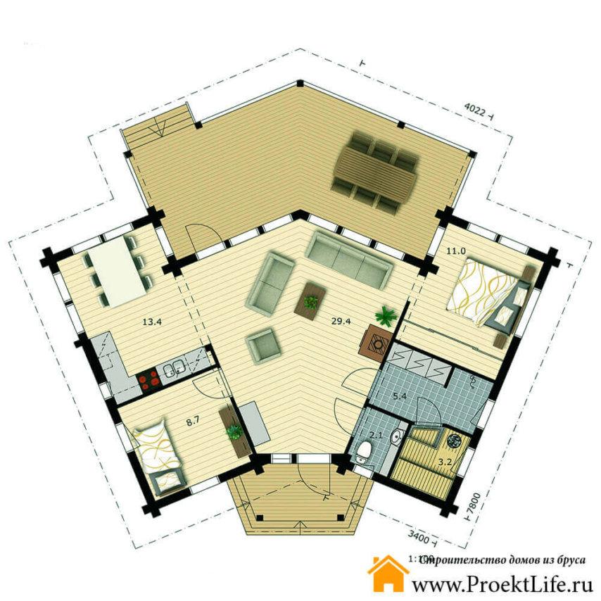 """Дачный дом из бруса """"Миллениум"""" план"""