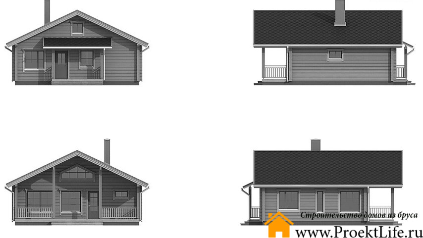 """Дом из бруса 160x160 мм """"Норд"""" фасад"""