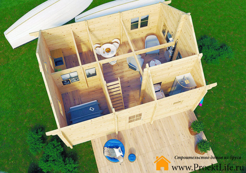 """Загородный дом из бруса 70 мм """"Аркона"""" планировка 1 этажа"""